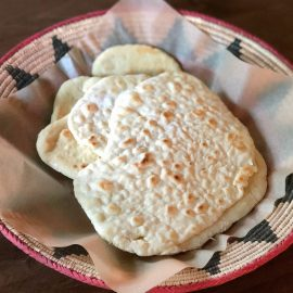 basket of sourdough flatbread