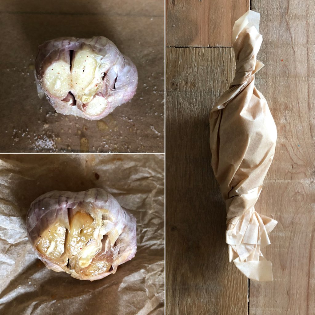 Three stages of roasted garlic on parchment paper