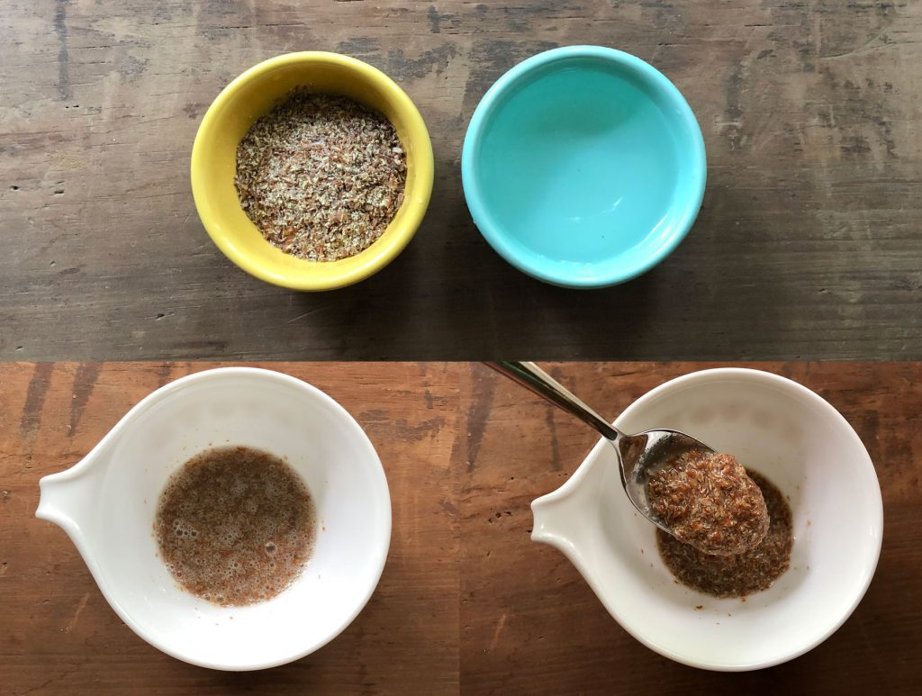 flax meal and water in separate bowls and then mixed together, egg replacer