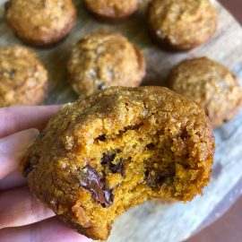 pumpkin muffins with melty chocolate chips