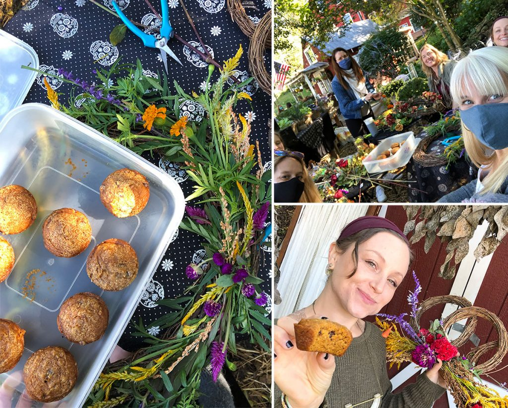 collage of wrath making, muffins, flowers and friends