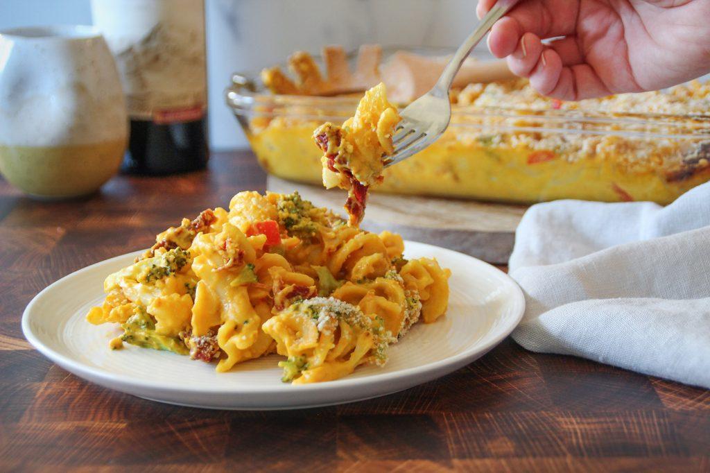 Plate full of loaded vegan mac and cheese