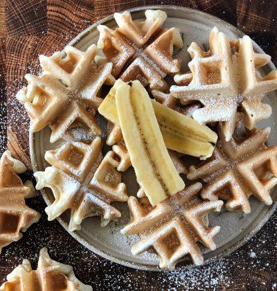 Mini sourdough waffles with banana slices